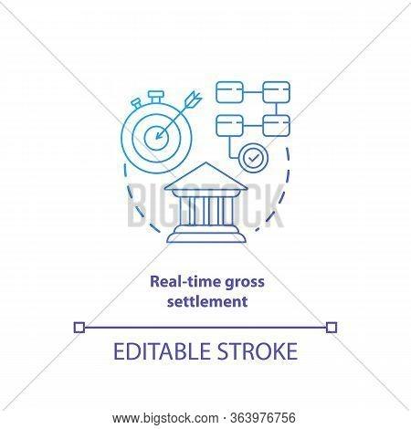 Real Time Gross Settlement Blue Gradient Concept Icon. Funds Transfer Procedure Idea Thin Line Illus