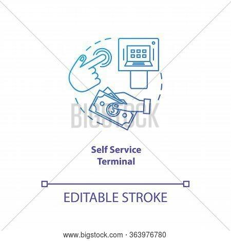 Self Service Terminal Blue Gradient Concept Icon. Customer-operated Checkout Idea Thin Line Illustra