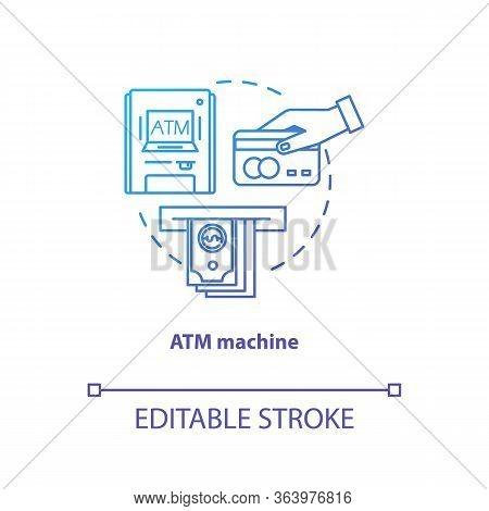 Atm Machine Blue Gradient Concept Icon. Bankomat Idea Thin Line Illustration. Cashpoint, Cashline. M