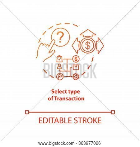 Select Type Of Transaction Red Gradient Concept Icon. Atm Operation Idea Thin Line Illustration. Mon