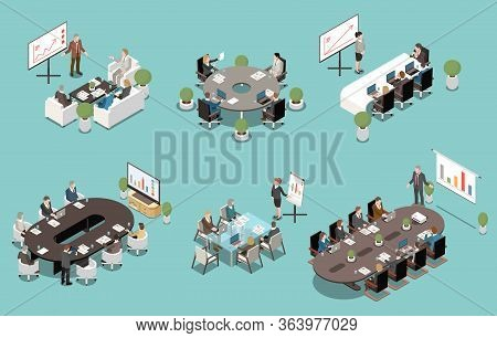 Meeting White Board And Lcd Screen Presentations Isometric Set With Oval Rectangle Round Boardroom T
