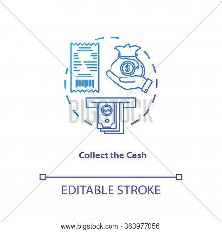Collect Cash Blue Gradient Concept Icon. Money Withdrawal Idea Thin Line Illustration. Atm Transacti