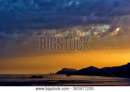 dramatic sky at evening on Amalfi coastline in Campania