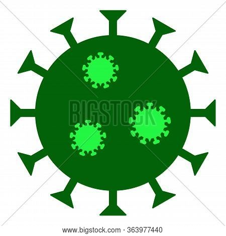 Raster Covid-19 Flu Virus Flat Icon. Raster Pictograph Style Is A Flat Symbol Covid-19 Flu Virus Ico