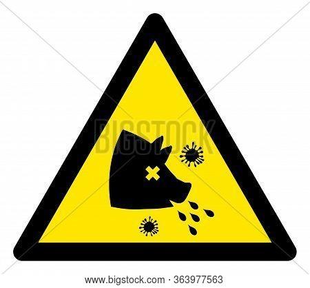 Raster Swine Fever Warning Flat Icon. Raster Pictogram Style Is A Flat Symbol Swine Fever Warning Ic