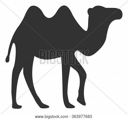 Vector Camel Flat Icon. Vector Pictogram Style Is A Flat Symbol Camel Icon On A White Background.