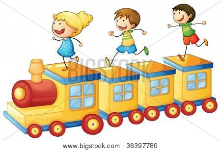 illustration of a kids on a train