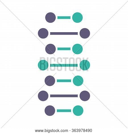 Dna Spiral Chains Violet And Turquoise Color Icon. Connected Dots, Lines. Deoxyribonucleic, Nucleic