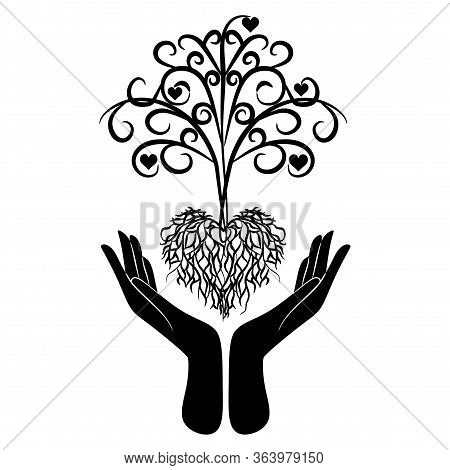 Human Hands Holding Green Tree Symbol With Nature Texture. Concept Illustration For Environment Care