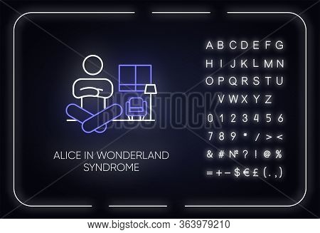 Alice In Wonderland Syndrome Neon Light Icon. Visual Perception. Size Distortion. Dysmetropsia. Ment
