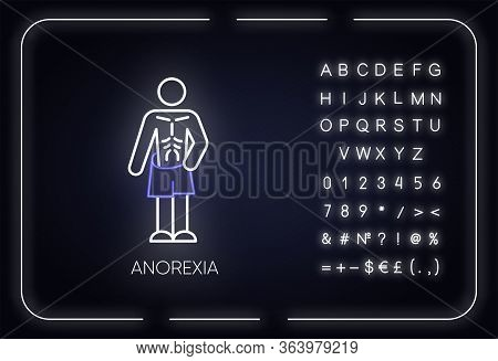 Anorexia Neon Light Icon. Eating Disorder. Underweight Body. Slim And Skinny Person. Unhealthy Weigh