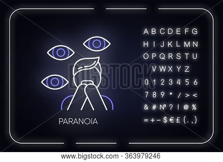 Paranoia Neon Light Icon. Panic Attack. Scared Person. Fear, Phobia. Terrified Man. Stress And Anxie
