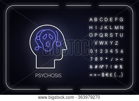 Psychosis Neon Light Icon. Paranoid And Scared Person. Phobia And Anxiety. Schizophrenia. Mental Dis