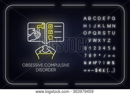 Obsessive-compulsive Disorder Neon Light Icon. Disturbed Man. Thinking Under Pressure. Perfectionist