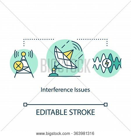 Intenference Issues Concept Icon. 5g Technologies Idea Thin Line Illustration. Global Coverege. High