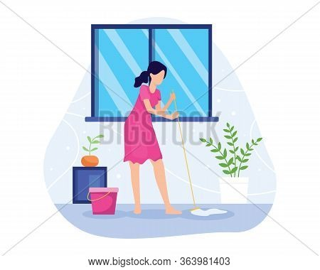 Vector Illustration Woman Mopping The Floor. Sweeping And Mopping The Floor, Wife Cleans The Floor O