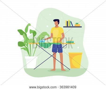 Vector Illustration Young Man Ironing Clothes. Ironing And Folding Clothes Routine, Man Ironing Clot