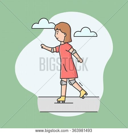 Concept Of Active Leisure. Sporty Girl Roller Skating. Cheerful Woman Riding Roller Skates On Road I