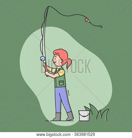 Concept Of Fishing With Spinning And Rest. Cheerful Fisherwoman Is Standing And Cast. Sport Outdoor