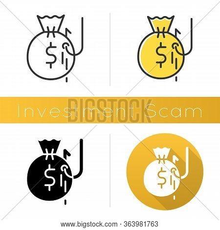 Investment Scam Icon. Ponzi, Pyramid Scheme. Financial Fraud. Illegal Money Gain. Cybercrime. Phishi