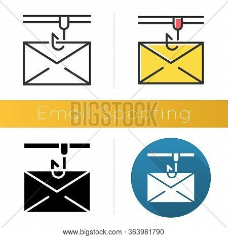 Email Spoofing Icon. Illegitimate Business. Forged Sender. Spamming. Fake Email Header. Mail Phishin