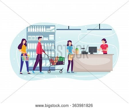 People Shopping At Supermarket And Buying Product. People Line Up At The Cashier, Grocery Shopping C
