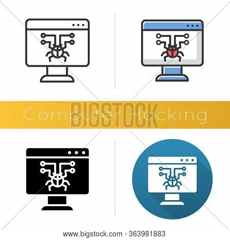 Computer Hacking Icon. Illegal Access Gain. Security Breach. Malware, Ransomware. Phishing, Cybercri