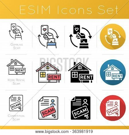 Scam Types Icons Set. Gambling, Home Rental Fraudulent Scheme. Competition Fraud. Cybercrime. Financ