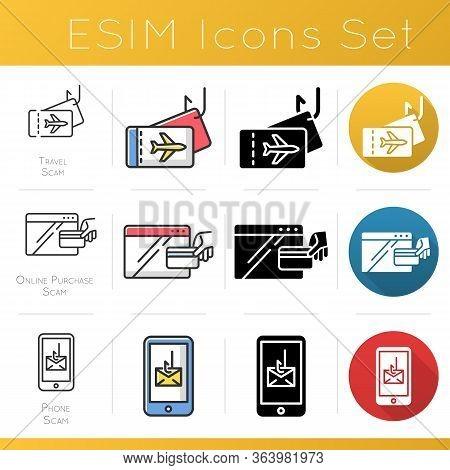 Scam Types Icons Set. Online Purchase Fraudulent Scheme. Travel Fraud. Phone, Smishing Trick. Cyberc