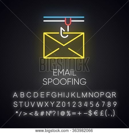 Email Spoofing Neon Light Icon. Illegitimate Business. Forged Sender. Online Scam. Spamming. Mail Ph