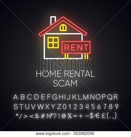 Home Rental Scam Neon Light Icon. House, Apartment For Rent. Fake Real Estate Agent. Online Fraud. U