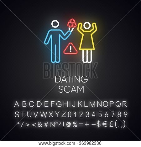 Dating Scam Neon Light Icon. Online Romance Fraud. Fake Dating Service. False Romantic Intentions. C