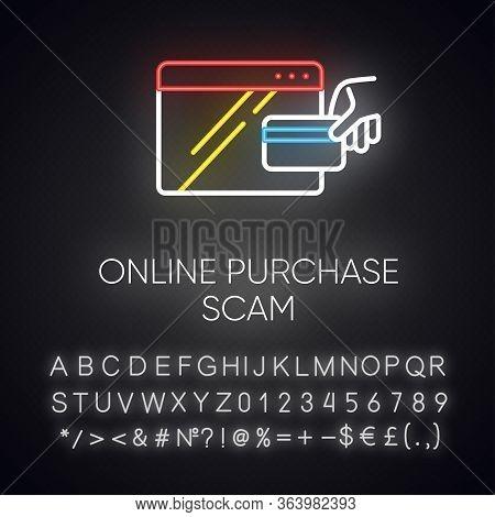 Online Purchase Scam Neon Light Icon. Internet Shopping, Consumer Fraud. Fake Retailer Website. Cybe