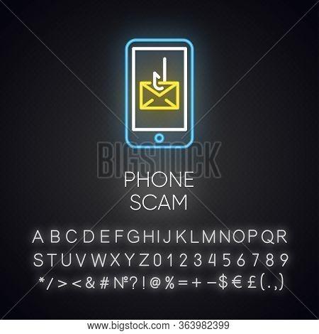 Phone Scam Neon Light Icon. Communications Fraud. One-ring Trick. Smishing, Sms Phishing. Telephone