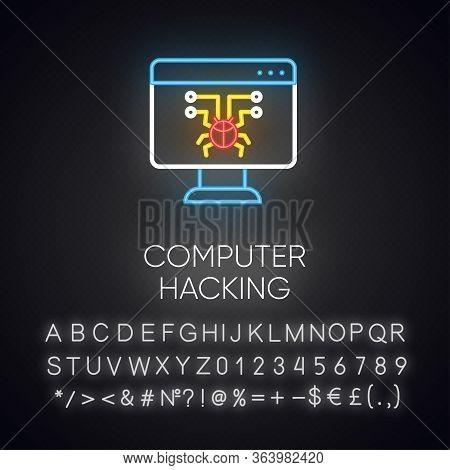 Computer Hacking Neon Light Icon. Illegal Access Gain. Security Breach. Malware, Ransomware. Phishin