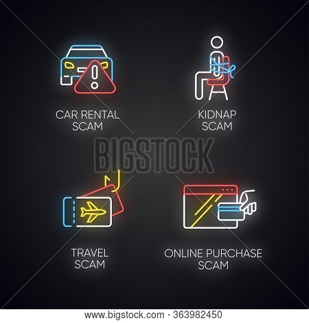 Scam Types Neon Light Icons Set. Car Rental, Online Purchase Fraudulent Scheme. Kidnap, Travel Trick
