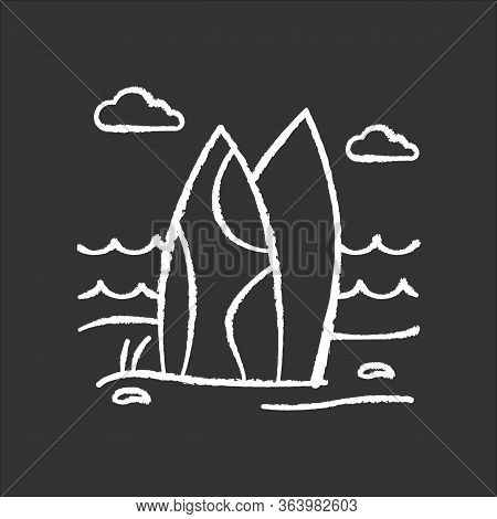 Surfboards On The Beach Chalk Icon. Surf Sea Waves. Vacation Trip To Indonesia. Ocean Surfing Activi