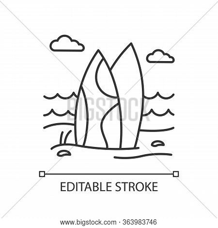 Surfboards On The Beach Linear Icon. Surf Sea Waves. Indonesia Ocean Surfing Activity. Water Sport E