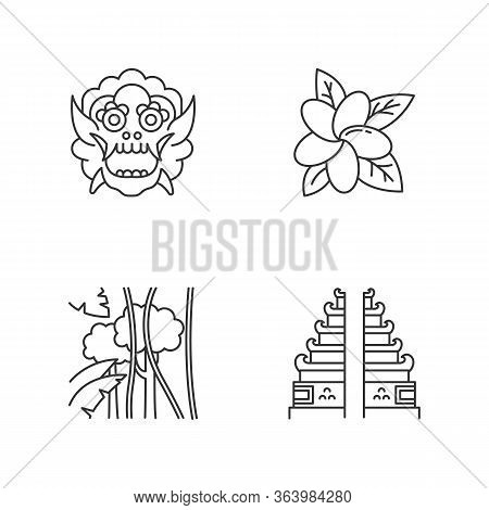 Indonesia Indonesia Linear Icons Set. Tropical Country Nature. Indonesia Islands. Exploring Traditio