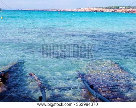 Sandy Beach For Summer Balearic Holidays In Cala Saona In Formentera Island In Spain