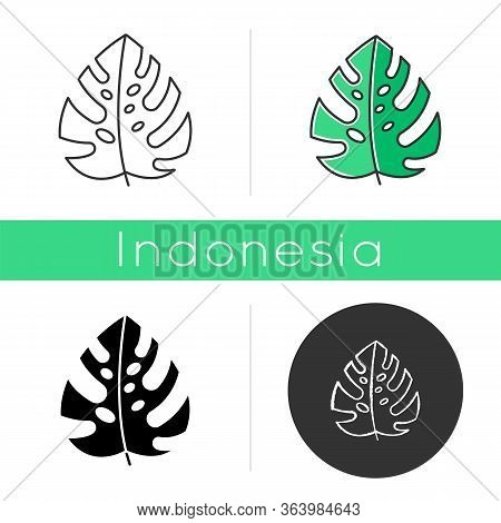 Monstera Leaf Icon. Evergreen Tropical Forest Vines. Swiss Cheese Plant. Indonesian Islands Nature.