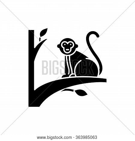 Monkey On Tree Glyph Icon. Tropical Country Animal, Mammal. Exploring Exotic Indonesia Islands Wildl