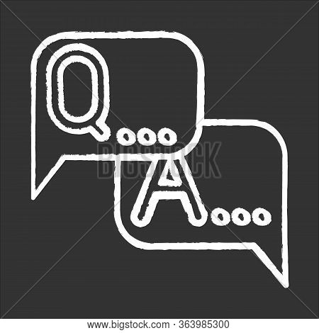 Survey Chalk Icon. Questions, Answers. Faq Sign. Speech Bubbles. Dialogue Through Message. Online Ch