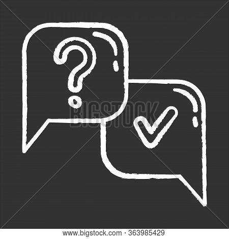 Question And Answer Chalk Icon. Faq Sign. Question Mark In Speech Bubble. Ask And Answer. Chat, Dial
