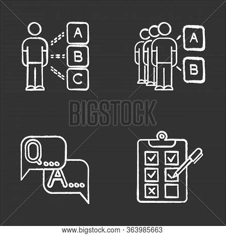 Survey Chalk Icons Set. Personal Questioning. Social Opinion. Group Test. Faq Sign. Question And Ans