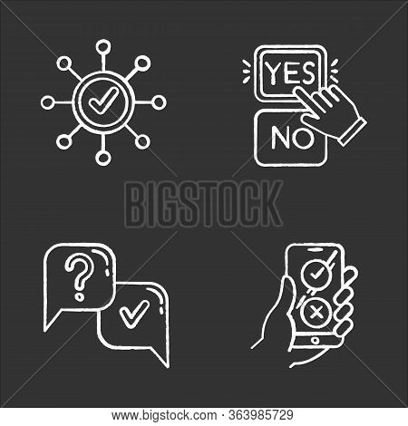 Survey Chalk Icons Set. Correct Answer, Approve Option. Spread Structure. Yes And No Button Click. Q