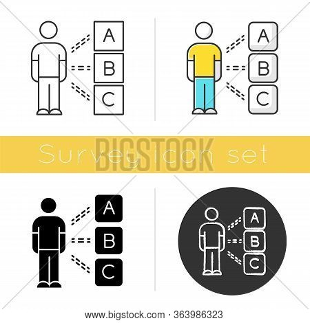Personal Survey Icon. Multiple Choices. Select Option. Psychological Test. Client Interview. Persona