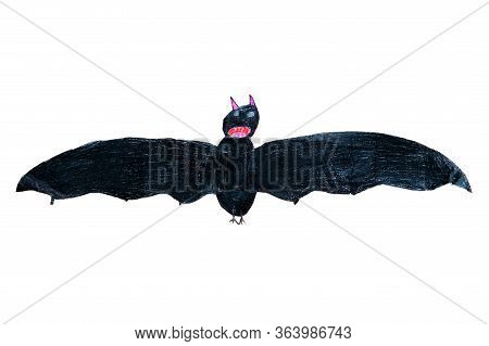 Bat Drawing Isolated On The White Background