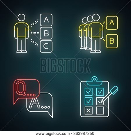 Survey Neon Light Icons Set. Personal Questioning. Social Opinion. Group Test. Faq Sign. Question, A