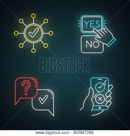 Survey Neon Light Icons Set. Correct Answer, Approve Option. Spread Structure. Yes And No Button Cli
